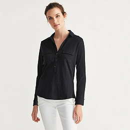 Half Placket Jersey Shirt - Navy