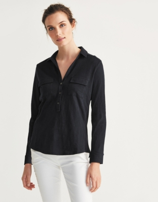 Half Button Jersey Shirt - Navy