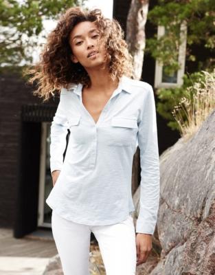 Half Button Jersey Shirt - Pale Blue
