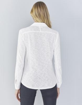 Half Button Jersey Shirt - White