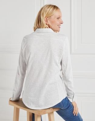 Half Button Jersey Shirt - Cloud Marl