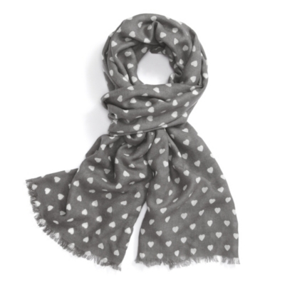 Heart Print Scarf - Frost Gray