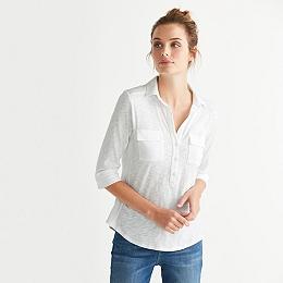 Cotton 3/4 Length Sleeve Shirt - White