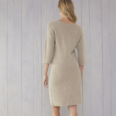Horizontal Rib Knitted Dress - Taupe Marl
