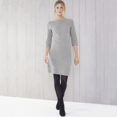 Horizontal Rib Knitted Dress - Gray Marl