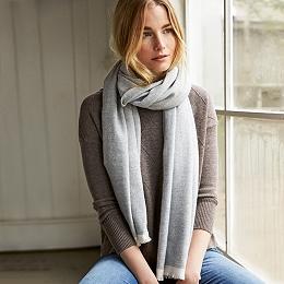 Wool-Cashmere Herringbone Scarf