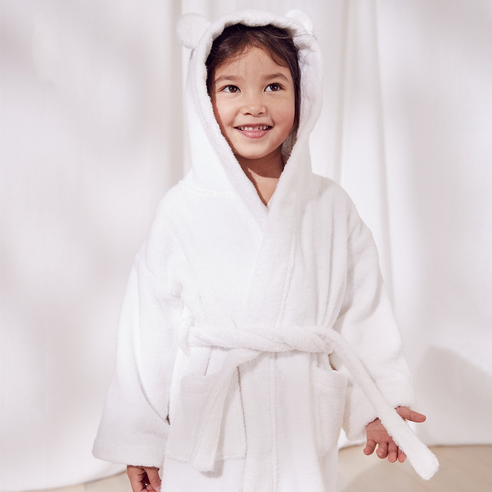 boys nightwear boys the little white company the white hydrocotton robe ears 1 5yrs