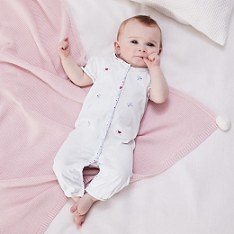 Star & Heart Embroidered Sleepsuit