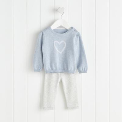 Heart Motif Sweater and Leggings Set