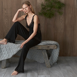 Inserted Lace Trim Cami & Pull-on Pajama Set