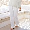 Jersey Band Linen Pants - White