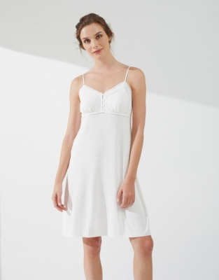 Button Detail Jersey Nightgown