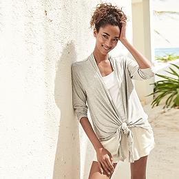 Lounge Jersey Drape Front Cardigan
