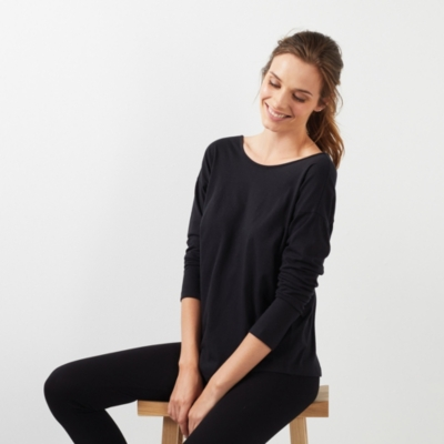 Cotton Jersey Scoop Back Ballet Top - Black