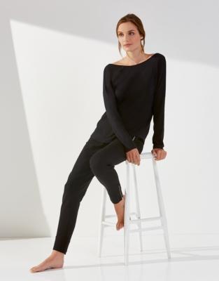 Cotton Jersey Scoop Back Ballet Top - Black