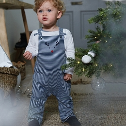 Jingles Dungaree & Shirt Set