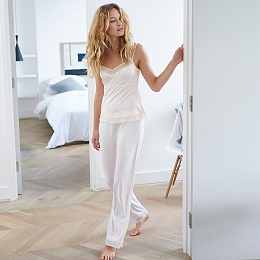 Jersey Lace Trim Pajama Set