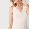 Jersey Lace Trim Sleep Vest - Pale Pink