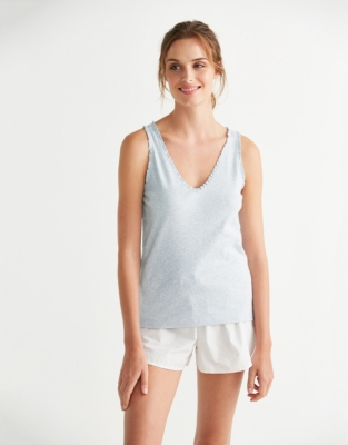 Jersey Lace Trim Sleep Vest - Pale Gray Marl
