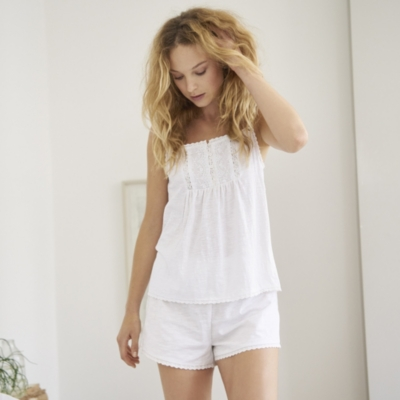 Jersey Embroidered Cami & Shorts Set