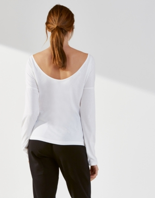 Cotton Jersey Scoop Back Ballet Top - White
