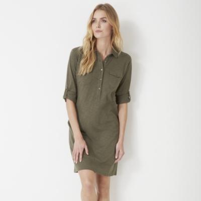 Jersey Shirt Dress - Clay