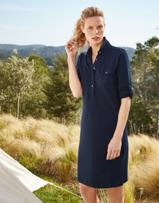 Jersey Shirt Dress - Navy
