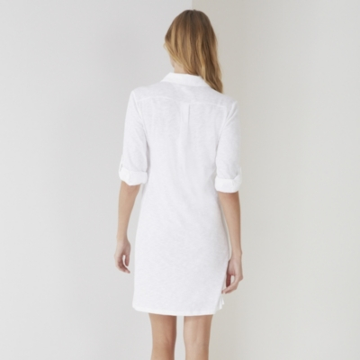 Jersey Shirt Dress - White