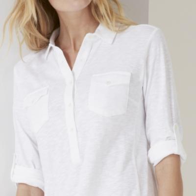 Jersey Shirt Dress - White