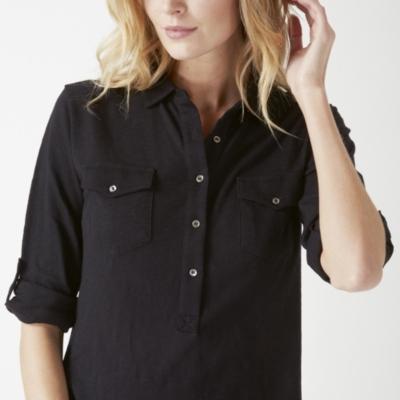 Jersey Shirt Dress - Black