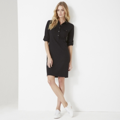 Jersey Shirt Dress - Black