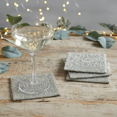Glass Beaded Coasters - Set of 4