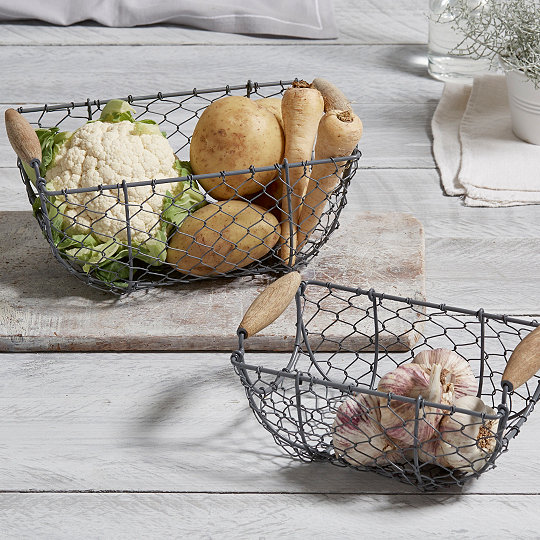 Nesting wire baskets set of 2 laundry storage the white nesting wire baskets set of 2 greentooth Image collections