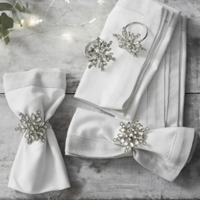 Jewelled Snowflake Napkin Rings S/4
