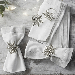 Jewelled Snowflake Napkin Rings S/4