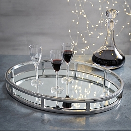 Mirrored Oval Tray