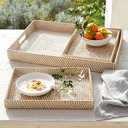Whitewashed Rattan Trays – Set of 3