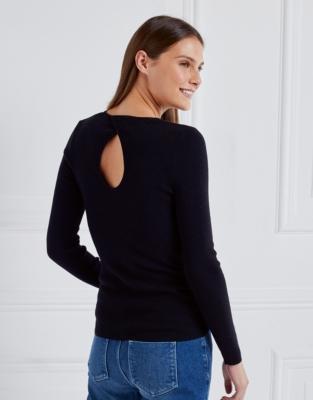Ribbed Keyhole Layering Sweater