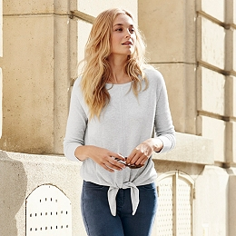 Knot Front Sweater - Pale Gray Marl