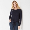 Knot Front Sweater - Navy