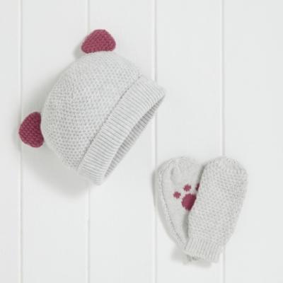 Girls Kitten Hat and Mitt Set