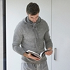 Men's Knitted Cashmere Hoodie - Pale Gray Marl