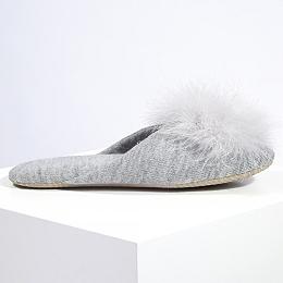 Feather Pom-Pom Mule Slippers