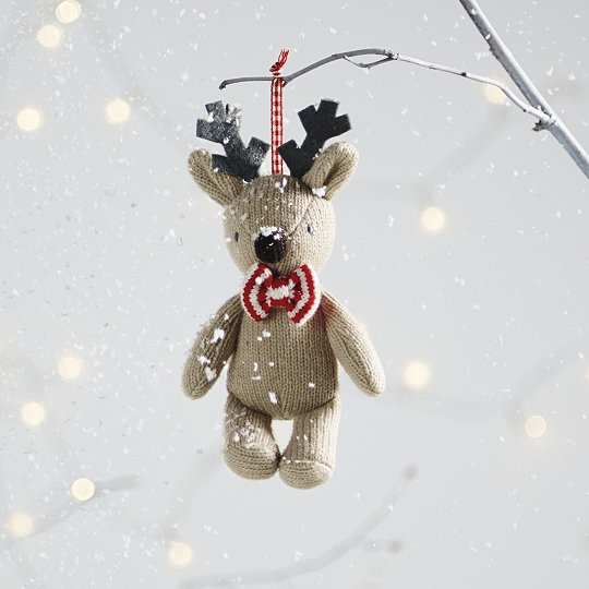 knitted reindeer christmas decoration