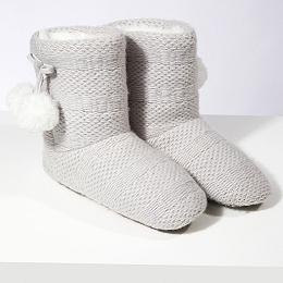 Knitted Pom-Pom Slipper Boots