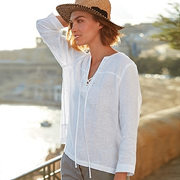 Linen Lace Up Blouse
