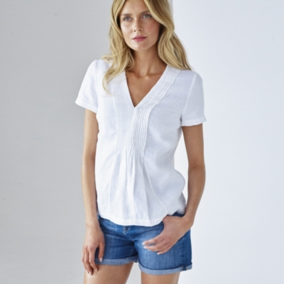 Laundered Linen Top - White