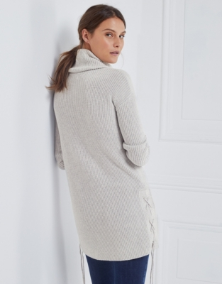 Wool-Cotton Lace Side Sweater
