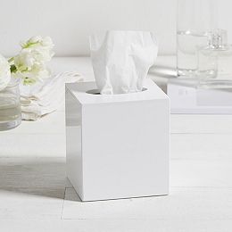 White Lacquer Tissue Box Cover