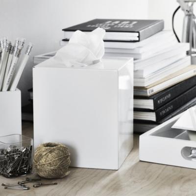 White Lacquer Tissue Box Cover